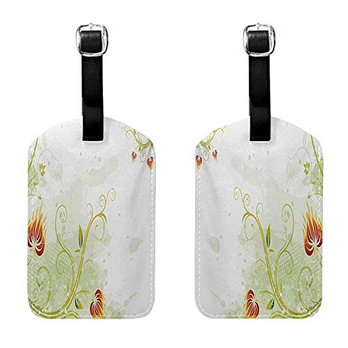 Instrument Tag Floral,Swirled Petals Lines on Grunge Background Retro Scroll Botany Design,Pale Green Pistachio Ruby with Genuine ()