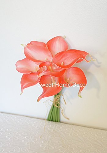 White and coral flower bouquet amazon sweet home deco latex real touch 15 artificial calla lily 10 stems flower bouquet for home wedding coral mightylinksfo