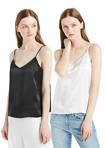 LilySilk Silk Camisole for Women Pure Charmeuse Mulberry 22mm V Neck Basic Tops Summer 2 Pack White+Black -