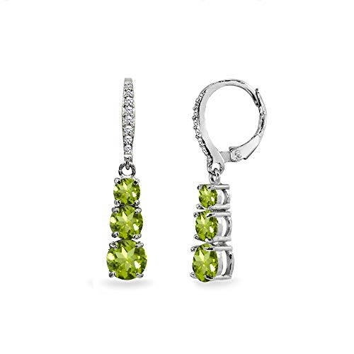 (Sterling Silver Peridot and Cubic Zirconia 3-Stone Journey Dangle Leverback Earrings for Women Teen Girls)