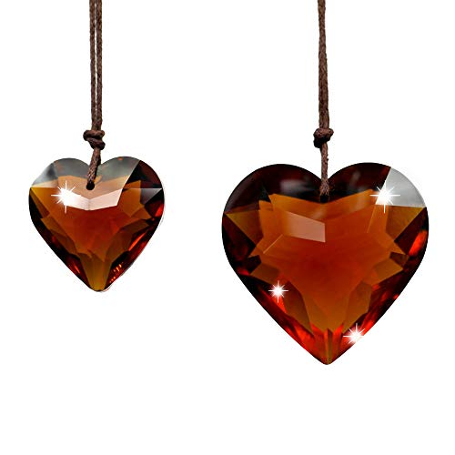 - SunAngel Colorful Jewelry Crystals Pendants &Chandelier Sun Catchers Prisms Hanging Ornament Diamond Ball Christmas Tree Crystal Pendants for Home,Office,Garden Decor(True Amber Crystal Heart Pendant