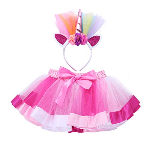 FEESHOW Girls Uniorn Rainbow Tutu Skirt Dress with Headband Birthday Party Outfit Fancy Dress up Costumes Pink&Rose Red 4-5