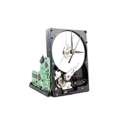 Upcycled Black & Silver Hard Drive Clock with Circuit Board stand - Modern Desk Clock