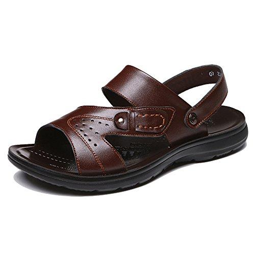 Toe Di Dimensioni Open Pantofole Grandi Sandali Infradito Brown Spiaggia Slip Morbida Estate Scarpe Uomo Da Pelle In Da Piscina On Da Scarpette f7wUqR4O