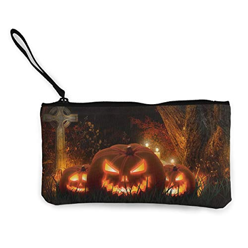 Oomato Canvas Coin Purse Scary Halloween Pumpkins Light Cosmetic Makeup Storage Wallet Clutch Purse Pencil Bag]()