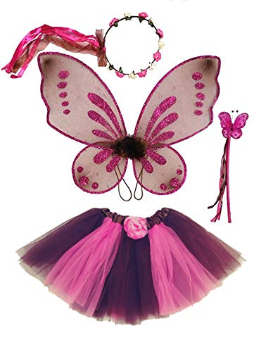 Girl Scout Halloween Costume Ideas (Enchantly Girls Fairy Costume Brown, Pink - Rosebud Halo, Wand, Pixie Wings, Tutu)