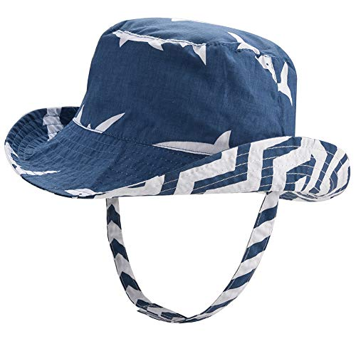 - Baby Sun Hat Reversible - Double-Side Infant Sun Protection Hat Soft Cotton Toddler Kids Summer Pool Beach Play Hat UPF 50+ (Shark, 48cm)