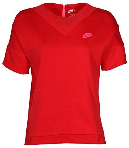 - Nike Women's Tech Fleece Crew Knit Sweatshirt-University Red-Medium