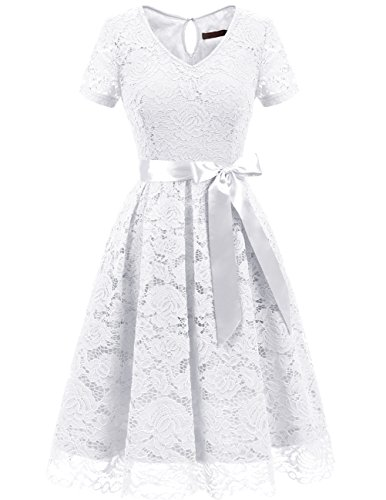 DRESSTELLS Women's Elegant Bridesmaid Dress Floral Lace Party Swing Dresses with Short Sleeves White M -