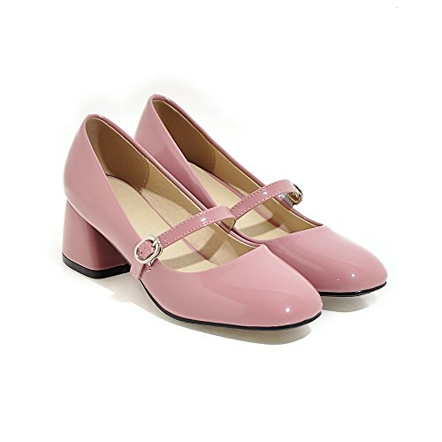Balamasa Ladies Buckle Chunky Heels Pumps In Vernice Bicolore Rosa
