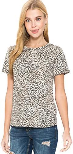 MINEFREE Women's Leopard Print Top Tee – Short Sleeve Crewneck Casual T-Shirt