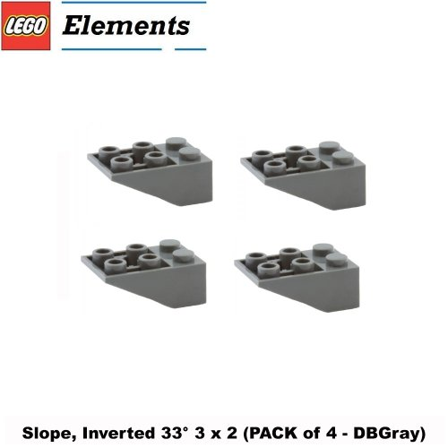 Lego Parts: Slope, Inverted 33° 3 x 2 (PACK of 4 - DBGray)