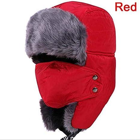 Amazon.com  Lessonmart 1pc Men Women Thicken Russian Skull Mask Bomber Hats  Winter Hat Bomber Hats Balaclava Cotton Fur Winter Earflap Keep Warm Caps   ... 38b387d92a0