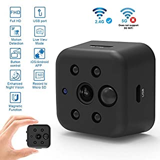 Mini Hidden Spy Camera Security Wireless WiFi Camera Portable Full HD 1080P Night Vision Motion Sensor Body Worn Recorder Support SD Card with iPhone Android View Real Time Video Nanny Cam