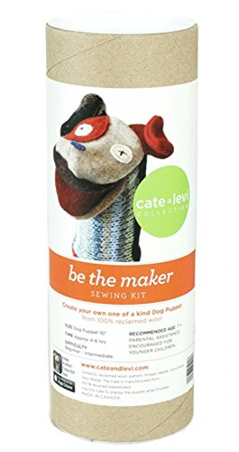 """Cate and Levi 10"""" Handmade Dog Puppet Making Kit (Premium Reclaimed Wool), Colors Will Vary from Cate and Levi"""