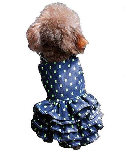 - Petroom Dog Dresses Dog Princess Fitwarm Dress Dog Skirt,Skeleton Prints Denim Cat Dress for Small Dog Girl -S