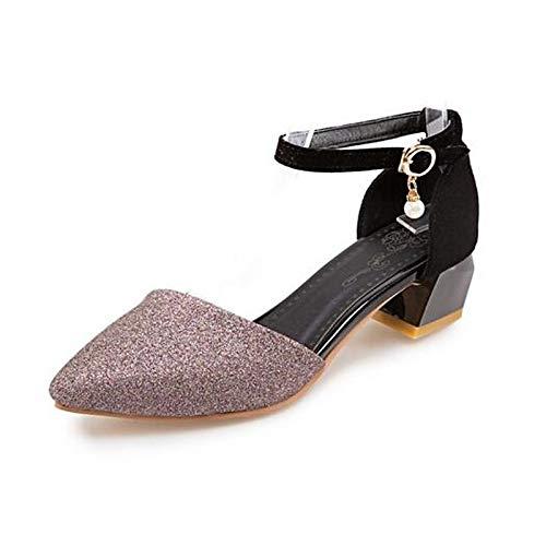 Spring Red Purple de Purple ZHZNVX Chunky Sintéticos Gold Comfort Mujer Tacones Zapatos Heel wIwqfZ