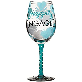 """Designs by Lolita """"Happily Engaged"""" Hand-painted Artisan Wine Glass, 15 oz."""