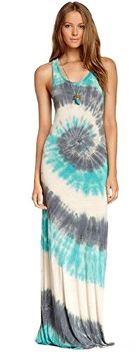 Sexy Sleeveless Tie Dye Pattern Long Maxi Bodycon A-Line Beach Tank Dress Blue White Grey (Tie Dye A-line)