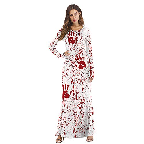 Ninkisann Women Christmas Xmas Costumes, Santa Claus Long Sleeve Casual Maxi Dresses