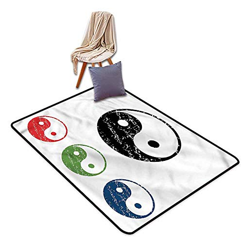 (Collection Area Rug,Ying Yang Four Elements Earth Water,Super Absorbs Mud,4'7