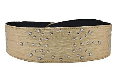 TFJ Women Wide Western Fashion Belt Hip Silver Metal Studded Buckle S M Gold