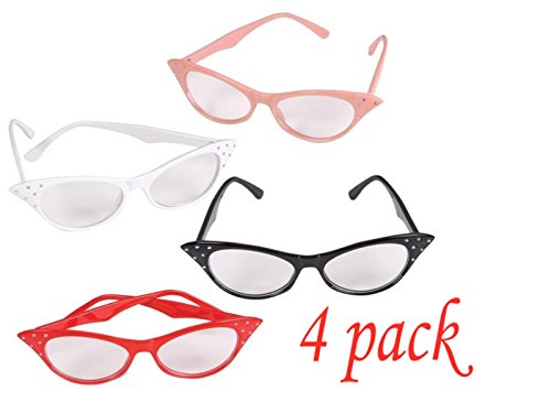 4E's Novelty Cat Eye Glasses with Rhinestones - 50's 60's Retro Glasses 4 Pack, 4 Bonus Sticker -