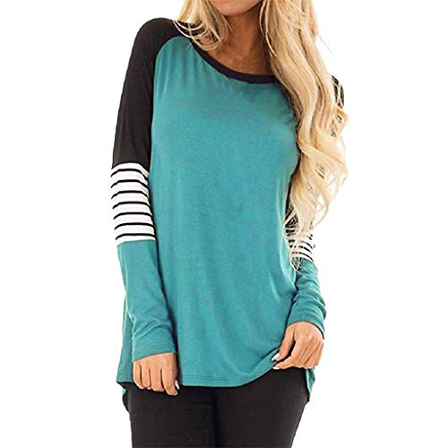TOPUNDER Plus Size Stripe Casual Color Block T-Shirt Loose Long Sleeve Top Blouse Women