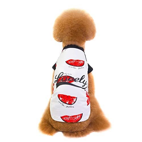 Gogoodgo Pet Clothes,Cute Dog Cat T-Shirt Cartoon Print Dog Shirt Vest Summer Pet Costume -