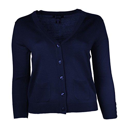Jenny Petite Women's Cardigan V Neck Sweater Navy Size Large
