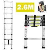 dicn Telescopic Ladders 2.6M 8.5FT Aluminium Lightweight Portable Extendable 9 Step 330lbs Capacity for Multipurpose Home Garden DIY Builder