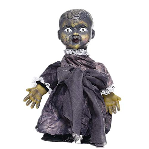 Porcelain Dolls Halloween (KKING Halloween Creepy Doll, Haunted Scary Talking Walking Doll Halloween Glowing Props with)