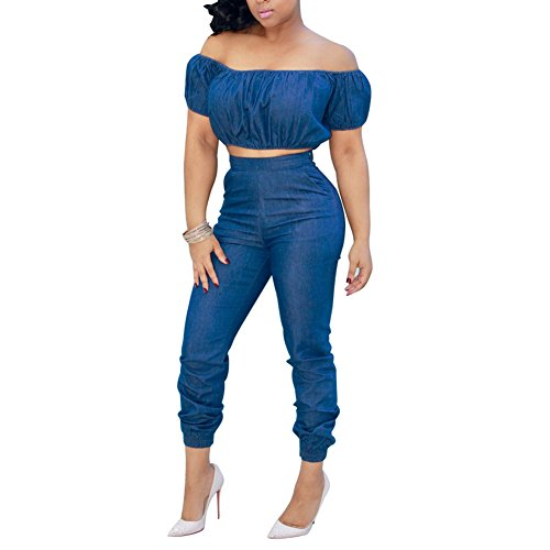 D-Sun Women's Short Sleeve Off Shoulder Denim Crop Top Pants Suit Set Jumpsuit 2 Pieces (US S = Asia L, Blue)