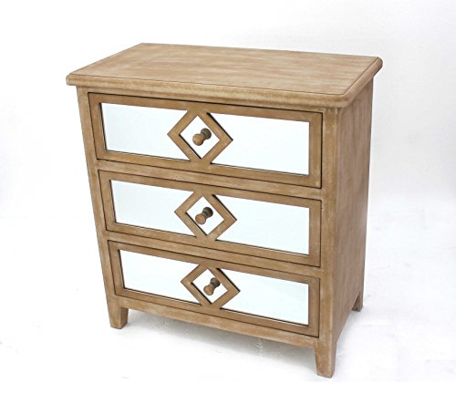 HomeRoots Furniture Traditional Mirrored Wooden Cabinet with 3 Drawers (Mirrored Traditional Cabinet)