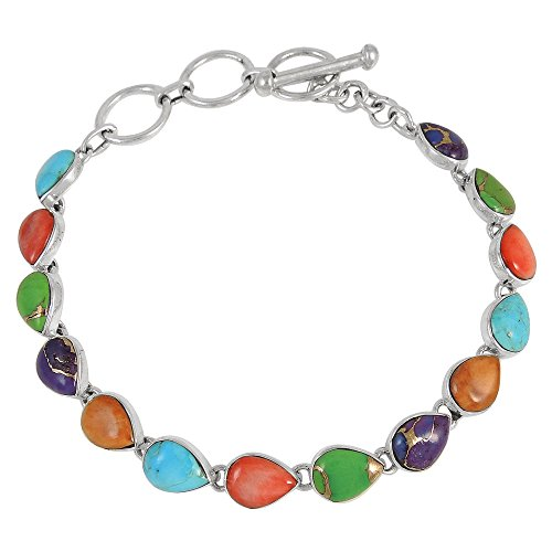 - Turquoise Link Bracelet Sterling Silver 925 Genuine Turquoise & Gemstones (Multi)