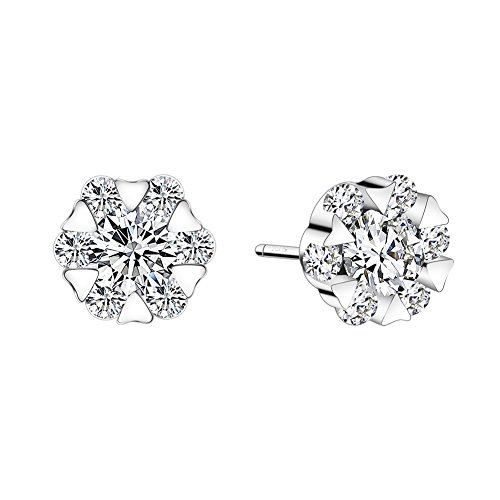 Cubic Zirconia Stud Earrings , LIKGUS Sterling Silver Hypoallergenic Earrings for Women