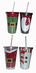 Christmas Themed Double-Insulated Tumblers with Lid and Straw - Santa, Penguin, Elf, and Snowman