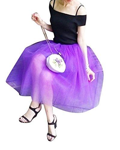 Plisada Faldas Mujer Fiesta De Para Morado Señora Saideng Hilo Tul Moda Blanco Tdqgn0