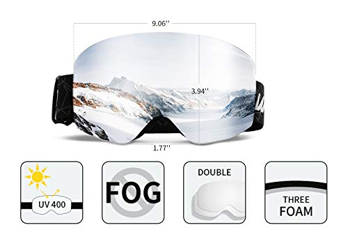 Wantdo Anti Fog Ski Goggle Cylindrical Design Dual Layers Lens UV400 Protection Snow Sports Glasses Snowboard Snowmobile Skate OTG Helmet Compatible for Men Women Youth Unisex
