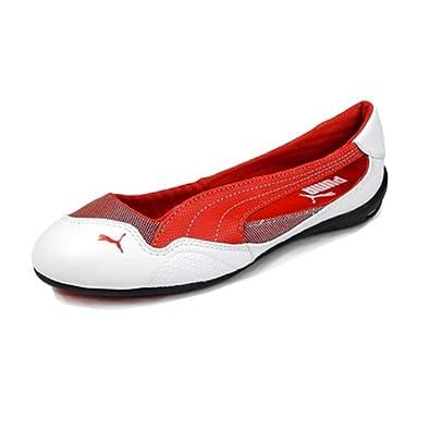 Puma Women s Winning Diva Ballerina Scuderia Ferrari Leather Flat Shoes ( White Rosso Corsa) (UK 4.5   EU 37.5   US 7)  Amazon.co.uk  Shoes   Bags 1dd1cf721
