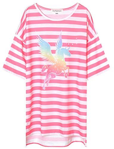 (Perfashion Little Girls' Unicorn Nightgown Princess Soft Sleepwear Cotton Cute Pajama Dresses for Girls Sleep Shirts)