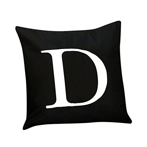 "Keepfit Christmas Pillow Case LED Flashing Novelty Alphabet Lighting Sofa Cushion Cover Home Decor Throw Pillowcase (18"" x 18"", Black D)"