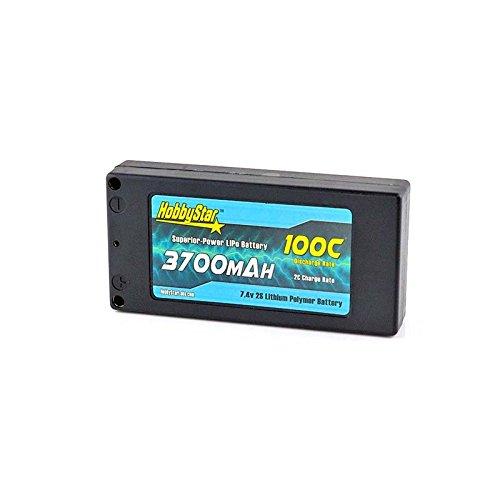 HobbyStar 3700mAh 7.4V, 2S 100C Hardcase Shorty-Lite Stock-Class LiPo Battery ()