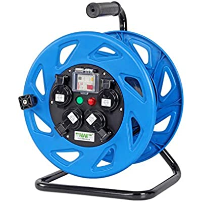 LIFEIYAN Cord Reel Four Socket Open Cable Reel Extension Lead With Winding Handle  Thermal Cut Out And Power Switch  30 50 Metres High Visibility Cable 220V 10A extension cord holder