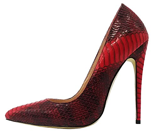 Red Pump Adult Shoes (MONICOCO Women's Pointed Toe Snake Print Party Pump Shoes Red 10 M US)