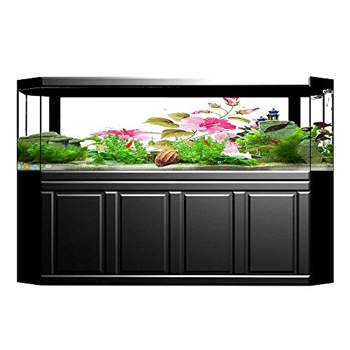 Jiahong Pan Fish Tank Background Flower Tropic Wild Hibiscus Flower Branch with Fresh Leaves Flora Pink Green White PVC Aquarium Decorative Paper L35.4 x H15.7 ()