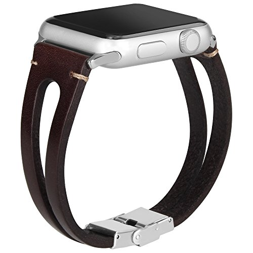Somoder Leather Bands Replacement for Apple Watch Band Series 4 44mm, Series 3/2/1 42mm, Handmade Vintage Fashion Alloy Leather Bracelet for Iwatch, Adjustable Size 5.5