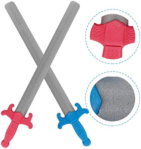 Liberty Imports Giant Foam Great Swords 2 Pack Warrior Knights Weapons Kids Pretend Play Toy Set - Red Vs Blue (28 Inches)