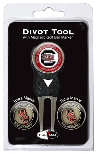 Team Golf NCAA South Carolina Gamecocks Divot Tool with 3 Golf Ball Markers Pack, Markers are Removable Magnetic Double-Sided Enamel
