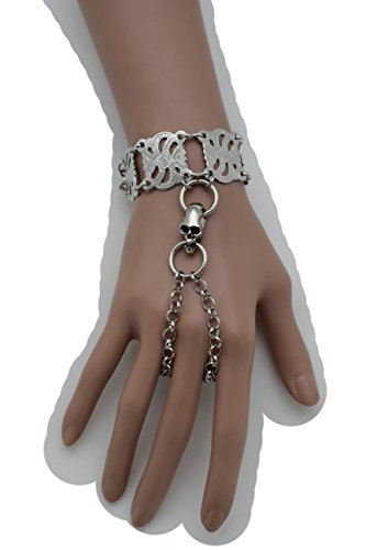 Pigsy Fancy Dress Costume (TFJ Women Fashion Jewelry Silver Metal Hand Chain Wrist Bracelet Skeleton Skull Slave Ring Halloween)